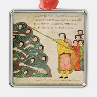 Moses closing the Red Sea on the Egyptians Square Metal Christmas Ornament