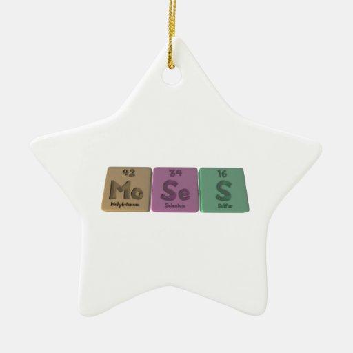 Moses como azufre del selenio del molibdeno adorno navideño de cerámica en forma de estrella