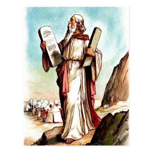 Moses con las tablas de la postal de la ley
