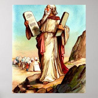 Moses con las tablas del poster de la ley póster