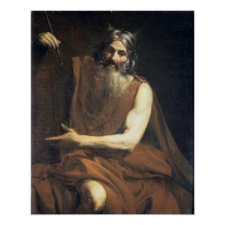 Moses con las tabletas de la ley, c.1627-32 póster