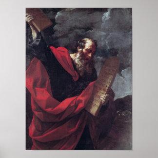 Moses con las tabletas de la ley póster