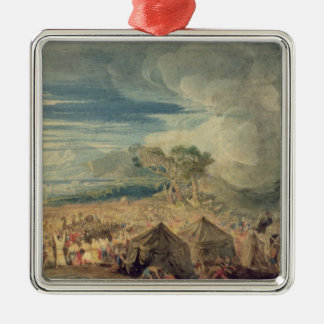 Moses dividing the waters of the Red Sea Square Metal Christmas Ornament
