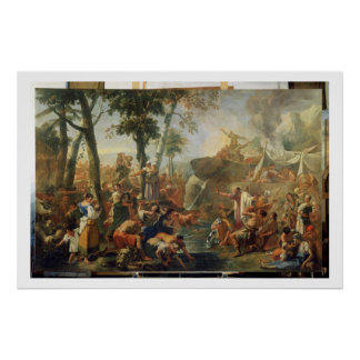 Moses Drawing Water from the Rock (oil on canvas) Poster