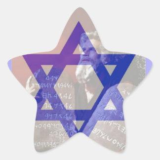 Moses, las tabletas y la estrella de David Pegatina En Forma De Estrella
