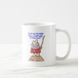 Moses, maná, étnico, comida taza de café