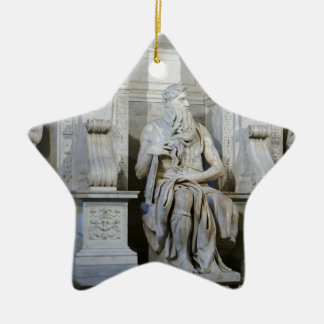 Moses (Michelangelo) Double-Sided Star Ceramic Christmas Ornament