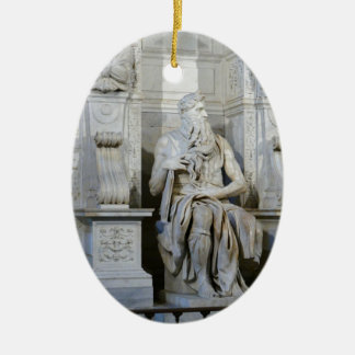 Moses (Michelangelo) Double-Sided Oval Ceramic Christmas Ornament