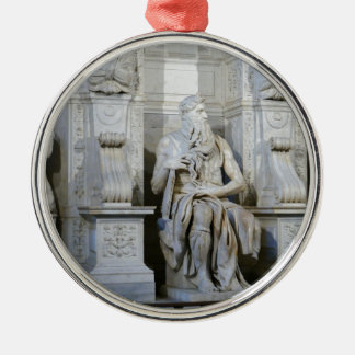 Moses (Michelangelo) Round Metal Christmas Ornament