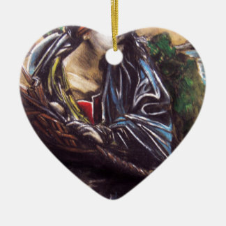 Moses Double-Sided Heart Ceramic Christmas Ornament