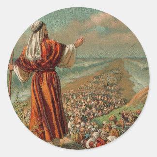 Moses parte el Mar Rojo Pegatina Redonda