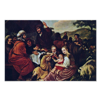 Moses' Parting Of Jethro By Victors Jan Print