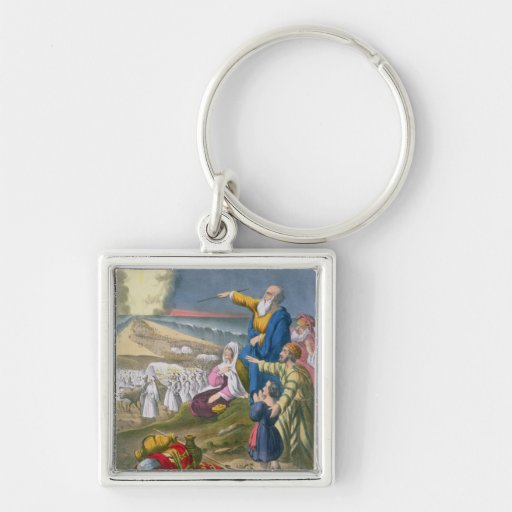 Moses Parting the Red Sea, from a bible printed by Silver-Colored Square Keychain