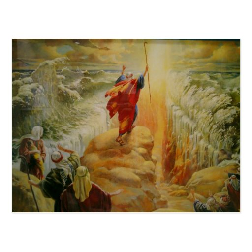 Moses parting the red sea post card. postcard