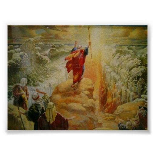Moses parting the red sea print.