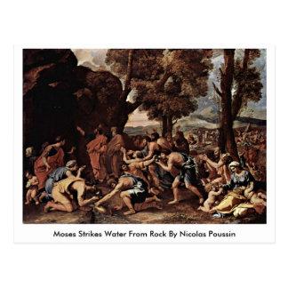 Moses pega el agua de la roca de Nicolás Poussin Tarjeta Postal