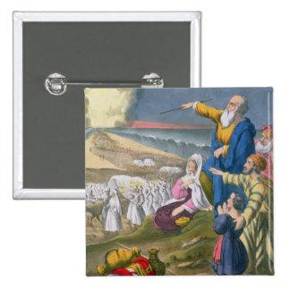 Moses que divide el Mar Rojo, de una biblia impres Pin Cuadrada 5 Cm