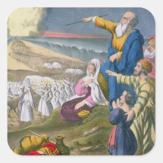 Moses que divide el Mar Rojo, de una biblia Pegatina Cuadrada