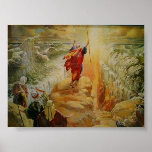 Moses que divide la impresión del Mar Rojo Póster