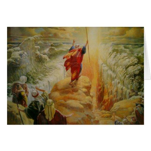 Moses que divide la tarjeta de felicitación del Ma