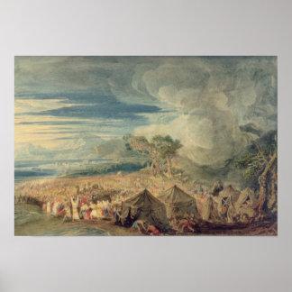 Moses que divide las aguas del Mar Rojo Póster