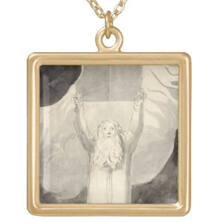 Moses Receiving the Law, c.1780 (brush and black i Square Pendant Necklace