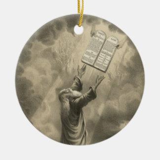 Moses Receiving the Law The Ten Commandments Ceramic Ornament