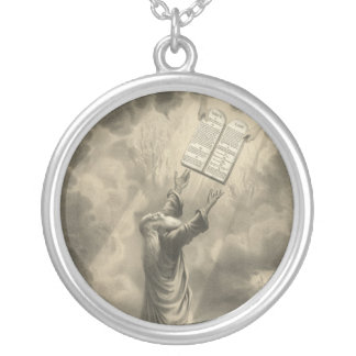 Moses Receiving the Law The Ten Commandments Silver Plated Necklace