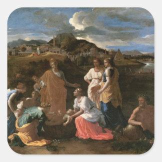 Moses rescató del agua, 1647 calcomania cuadrada personalizada