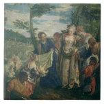 Moses rescató del Nilo, 1580 (el aceite en lona) Azulejo Cuadrado Grande
