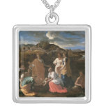Moses Rescued from the Water, 1647 Square Pendant Necklace