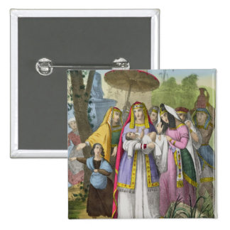 Moses Saved by Pharaoh's Daughter, from a bible pr 2 Inch Square Button