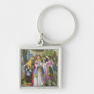 Moses Saved by Pharaoh's Daughter, from a bible pr Keychain