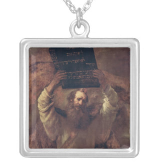 Moses Smashing the Tablets of the Law, 1659 Square Pendant Necklace