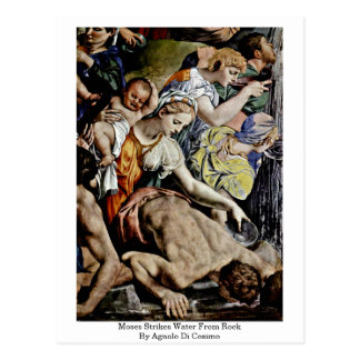 Moses Strikes Water From Rock By Agnolo Di Cosimo Postcard
