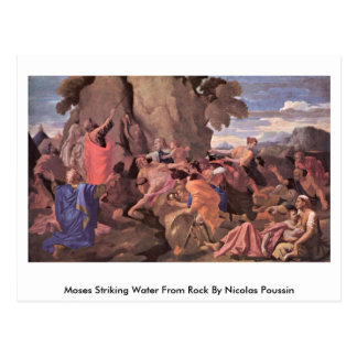 Moses Striking Water From Rock By Nicolas Poussin Postcard