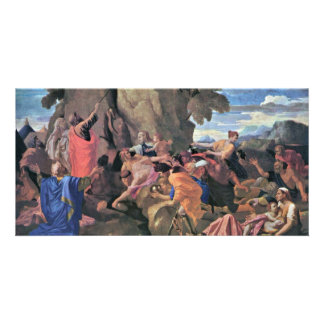 Moses Striking Water From The Rock By Poussin Photo Card
