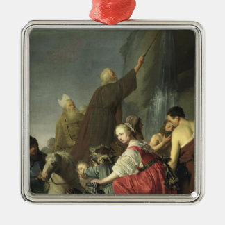 Moses Striking Water from the Rock Square Metal Christmas Ornament