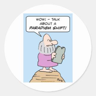 moses ten commandments paradigm shift mountain classic round sticker