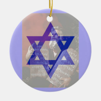 Moses, the Tablets and the Star of David. Ceramic Ornament