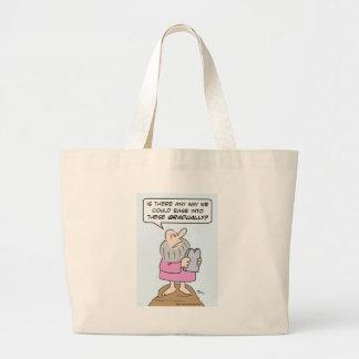 Moses wants to ease into ten commandments graduall large tote bag