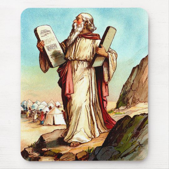 Moses with the tables of the law mousepad