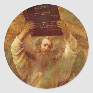Moses with the Tablets of the Law by Rembrandt Classic Round Sticker