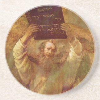 Moses with the Tablets of the Law by Rembrandt Coaster
