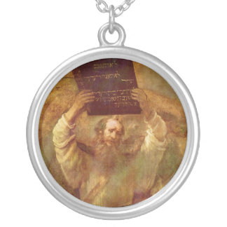 Moses with the Tablets of the Law by Rembrandt Round Pendant Necklace