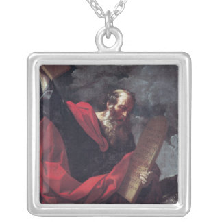 Moses with the Tablets of the Law Silver Plated Necklace