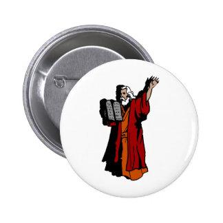 Moses y diez mandamientos pin redondo de 2 pulgadas