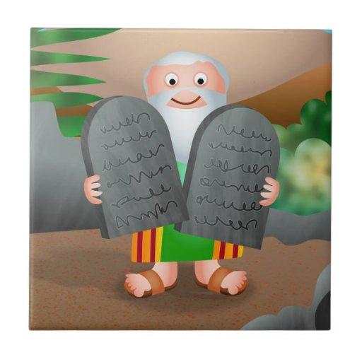 Moses y la historia de la biblia de diez mandamien azulejo cuadrado pequeño