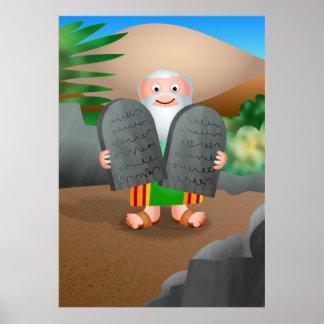 Moses y la historia de la biblia de diez mandamien póster
