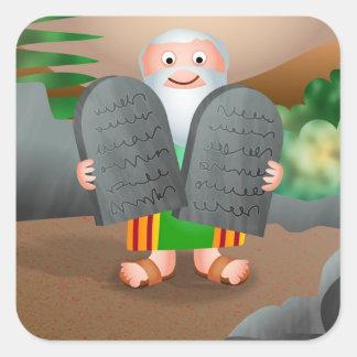 Moses y la historia de la biblia de diez pegatina cuadrada
